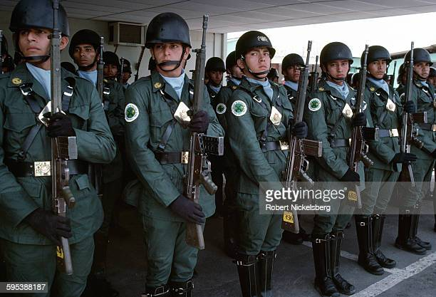 Members of the Treasury Police stand at attention in their main garrison San Salvador El Salvador July 1 1982 The Treasury Police were a wing of the...
