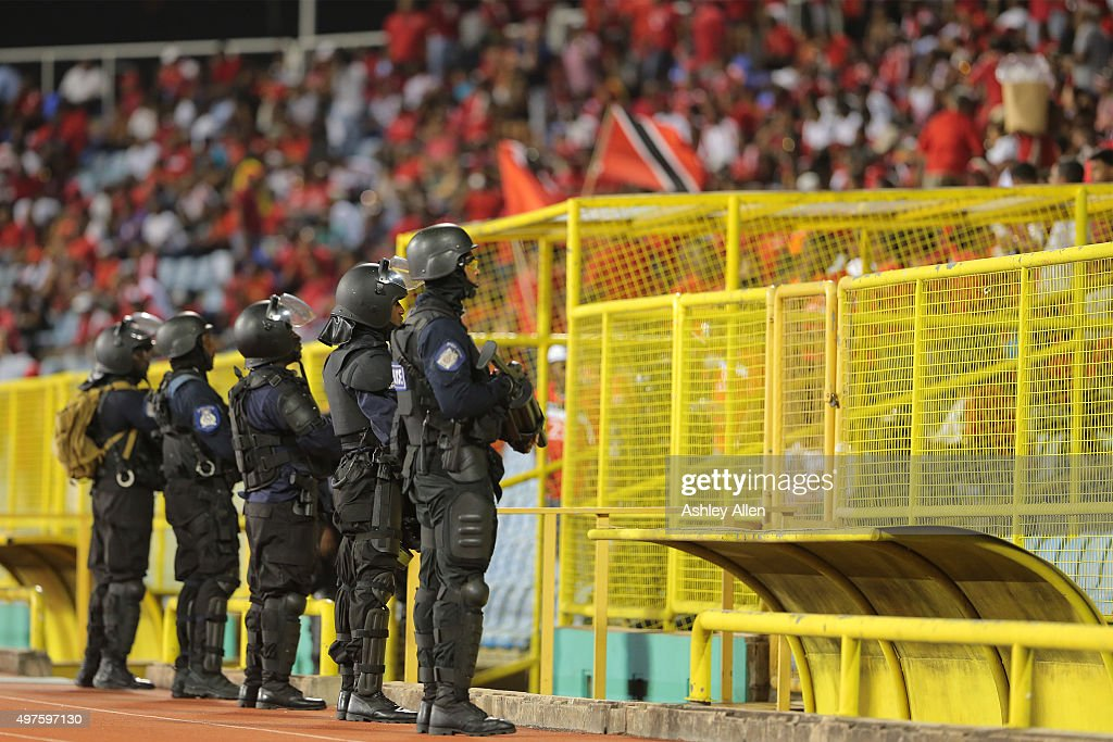 Members of the Trinidad and Tobago police service keep a close eye on the crowd during a World Cup Qualifier between Trinidad and Tobago and USA as part of the FIFA World Cup Qualifiers for Russia 2018 at Hasely Crawford Stadium on November 17, 2015 in Port of Spain, Trinidad & Tobago.