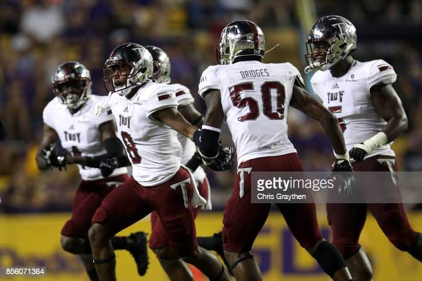 Members of the Troy Trojans react after an interception against the LSU Tigers at Tiger Stadium on September 30 2017 in Baton Rouge Louisiana