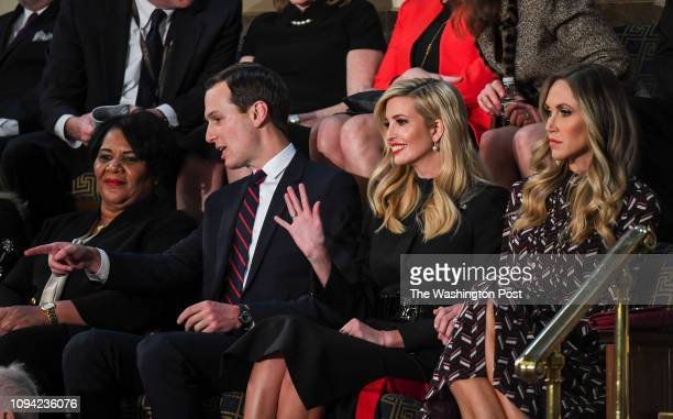 Members of the Trump family including Ivanka Trump center and Jared Kushner left ahead of the State of the Union address before members of Congress...