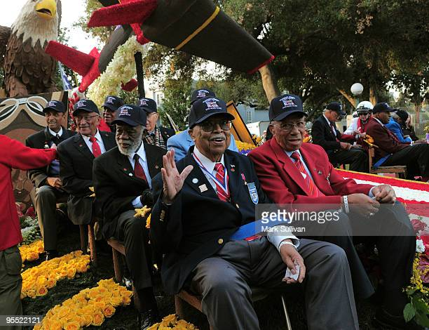 Members of the Tuskegee Airmen on the West Covina float prior to the start of the 121st Annual Tournament Of Roses Parade on January 1 2010 in...