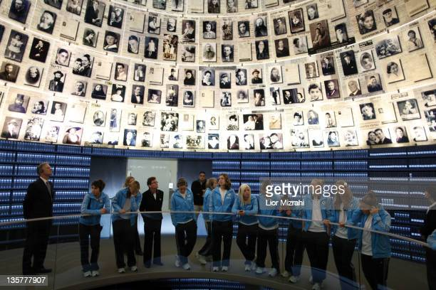 Members of the U16 women team of Germany are seen during the visit of Yad Vashem on December 14 2011 in Jerusalem Israel