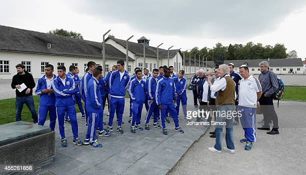 Members of the U17 Israel national football team visit the Concentration Camp Memorial Dachau on September 11 2014 in Dachau Germany