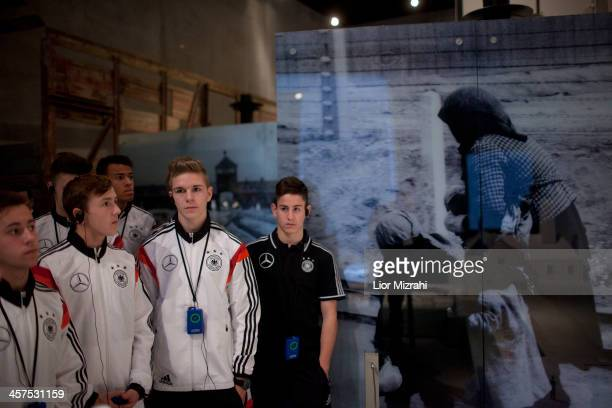 Members of the U18 Germany football team visit Yad Vashem on December 18 2013 in Jerusalem Israel