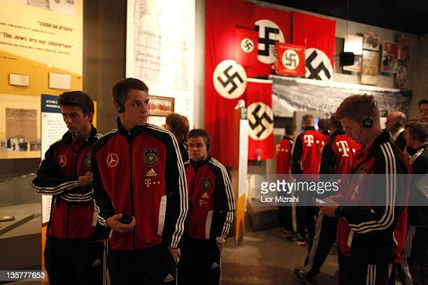 Members of the U18 team of Germany are seen during the visit of Yad Vashem on December 14 2011 in Jerusalem Israel