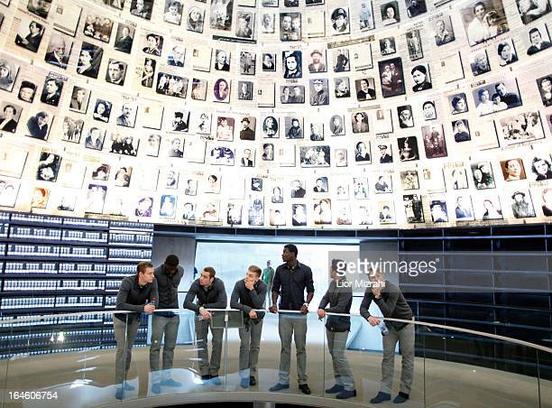 Members of the U21 Germany football team seen during the visit of Yad Vashem on March 25 2013 in Jerusalem Israel Yad Vashem is Israel's official...