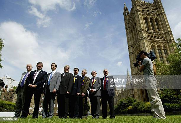 Members of the UK Independence Party attend a photocall near the Houses of Parliament on June 14 2004 in London The party which will argue for...