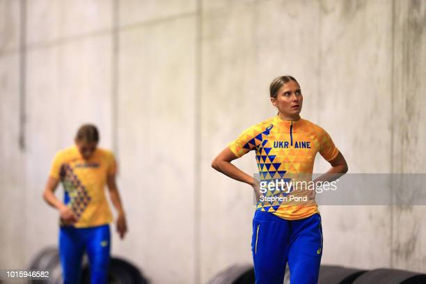 Members of the Ukraine Women's 4x100m Relay team warm up ahead of round one during day six of the 24th European Athletics Championships at...
