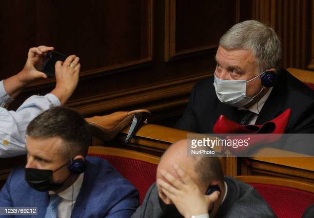 Members of the Ukrainian Parliament present to the Minister of Defense Andriy Taran high-heeled shoes during the Verkhovna Rada sitting to protest...