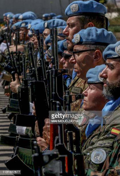 Members of the UN peacekeeping force in Lebanon attend the UNIFIL's 41st anniversary celebration at their base in the southern coastal town of Naqura...