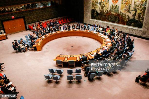 Members of the UN Security Council attends a meeting over North Korea's new sanctions on September 11 2017 at the UN Headquarters in New York / AFP...