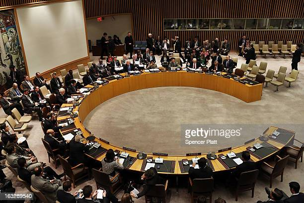 Members of the UN Security Council meet to vote on imposing a fourth round of sanctions against North Korea in an attempt to halt its nuclear and...
