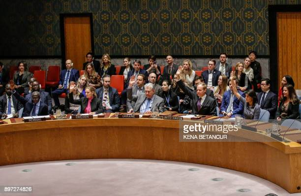 Members of the UN Security Council vote 150 to impose new sanctions on North Korea during a Security Council meeting over North Korea on December 22...