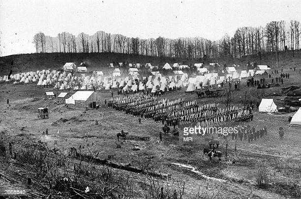 Members of the Union Army's 96th Pennsylvanian Regiment carry out a drill at Camp Northumberland outside Washington DC