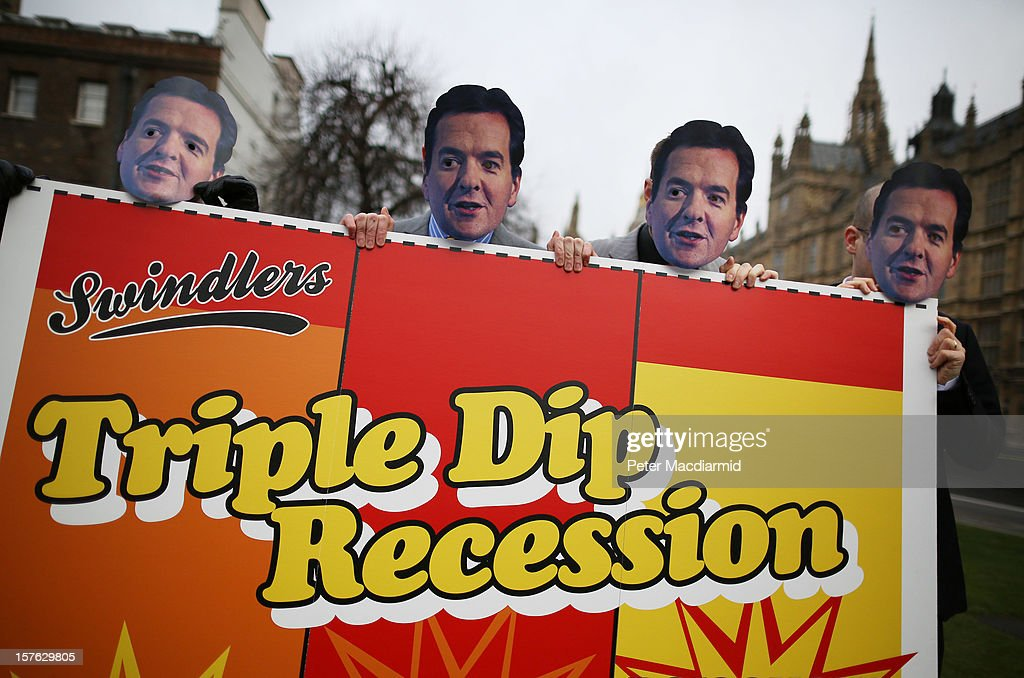 Members of the UNISON union wear masks depicting Chancellor George Osborne as they protest against budget cuts near Parliament on December 5, 2012 in London, England. The Chancellor George Osborne is expected to say that there is no miracle cure for the United Kingdom's financial woes as the economy struggles for growth when he delivers his Autumn Statement later in Parliament.