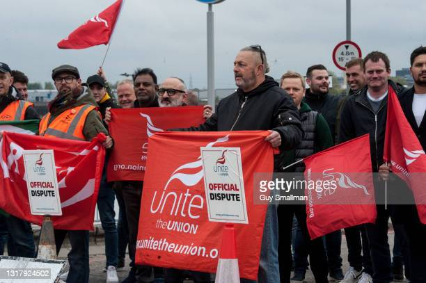 Members of the UNITE Trade Union close down the Woolwich Ferry service as they gather in protest on May 14, 2021 in Woolwich, England. Workers...