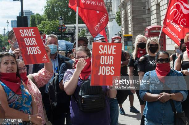 Members of the UNITE trade union, working in the hospitality industry, protest outside the Department for Culture Media and Sport to demand...