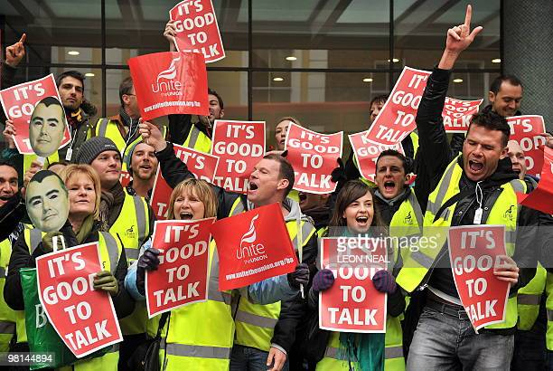 Members of the Unite Union hold a photocall on the steps of the Trade Union Congress headquarters in central London on March 30 on the final day of a...