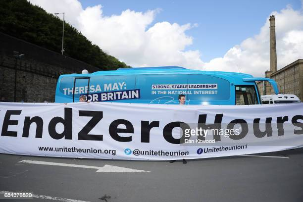 Members of the Unite Union protest against Zero hours contracts outside the launch of the Conservative Party Election Manifesto on May 18 2017 in...