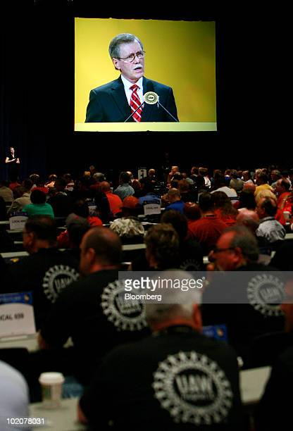 Members of the United Auto Workers listen to Ron Gettelfinger outgoing president of the United Auto Workers speak at the UAW's constitutional...