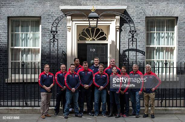 Members of the United Kingdom team attending the Invictus Games pose outside 10 Downing Street before meeting the British Prime Minister David...