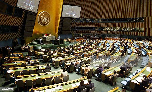 Members of the United Nations General Assembly hold a meeting on HIV/AIDS at UN headquarters September 22, 2003 in New York City. According to a...