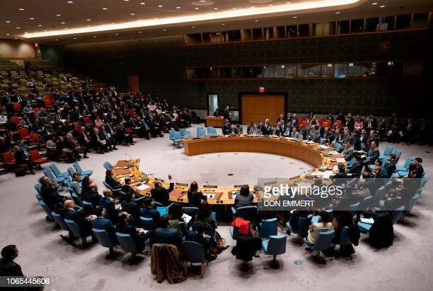 Members of the United Nations Secruity Council vote during a United Nations Security Council meeting on Ukraine November 26 2018 at the United...