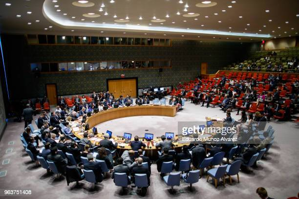 Members of the United Nations Security Council attend a emergency session on IsraelGaza conflict at United Nations headquarter on May 30 2018 in New...