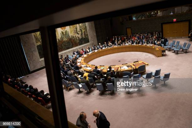 Members of the United Nations Security Council attend a meeting chaired by Polish President Andrzej Duda at United Nations headquarters May 17 2018...