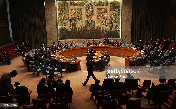 Members of the United Nations Security Council attend a meeting to address North Korea's recent rocket launch April 13 2009 at the United Nations in...