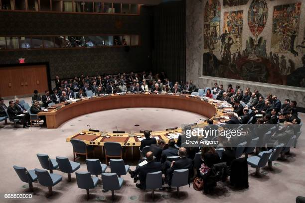 Members of the United Nations Security Council hold a meeting concerning the situation in Syria at UN headquarters April 7 2017 in New York City On...