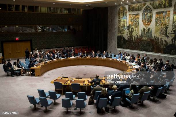 Members of the United Nations Security Council meet concerning North Korea at UN headquarters September 11 2017 in New York City The Security Council...