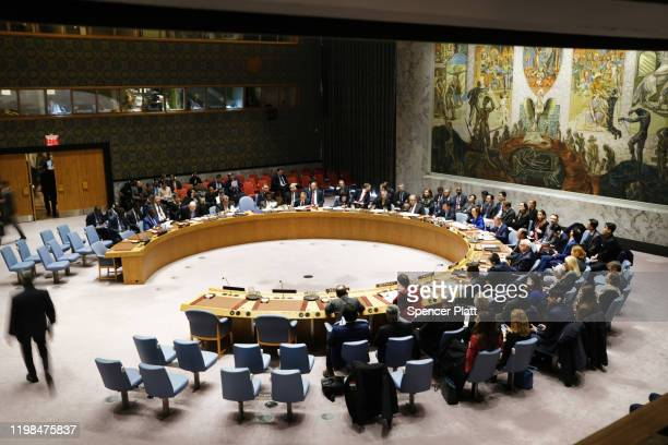 Members of the United Nations Security Council participate in a meeting titled Maintenance of International Peace and Security on January 09 2020 in...
