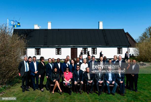 Members of the United Nations Security Council pose for a group photo during the annual informal working meeting with the UN Security Council on...