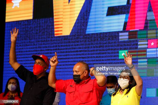 Members of the United Socialist Party of Venezuela, Jorge Rodriguez, left - Diosdado Cabello, center, and Delcy Rodriguez, right, during a...