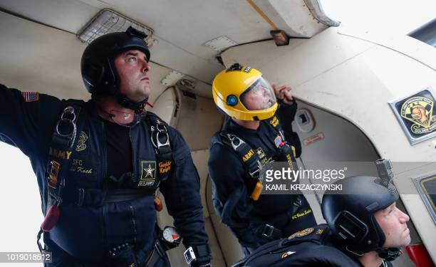 Members of the United States Army Parachute Team Golden Knights get ready to jump during 60th Annual Chicago Air and Water Show on August 18 2018 in...