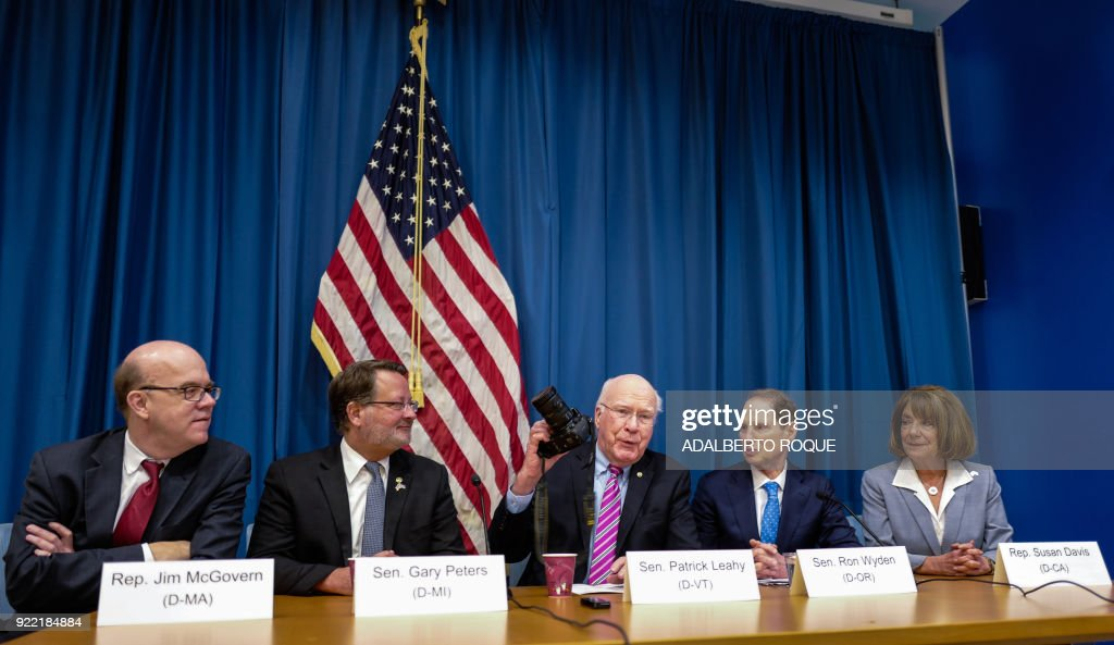 Members of the United States Democratic party (L to R) Representative Jim McGovern from Massachusetts, Senator Gary Peters from Michigan, Senator Patrick Leahy from Vermont, Senator Ron Wyden from Oregon and Representative Susan Davis from California attend a press conference at the United States Embassy in Havana, on February 21, 2018. Cuban President Raul Castro received a bipartisan delegation of US lawmakers Tuesday, who are visiting the island with the alleged 'acoustic attacks' against US diplomats on their agenda. /
