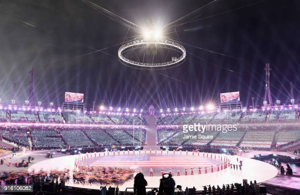 Members of the United States enter the Olympic Stadium during the Opening Ceremony of the PyeongChang 2018 Winter Olympic Games at PyeongChang...