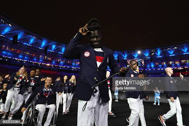 Members of the United States enter the stadium during the Opening Ceremony of the Rio 2016 Paralympic Games at Maracana Stadium on September 7, 2016...