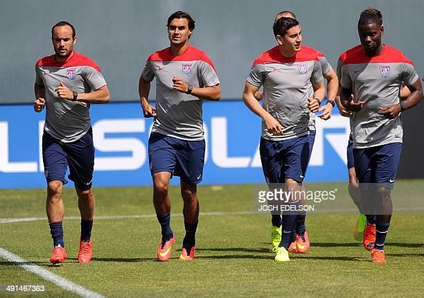 Members of The United States Men's National Soccer Team Landon Donovan Chris Wondolowski Alejandro Bedoya and Maurice Edu practice at Stanford...
