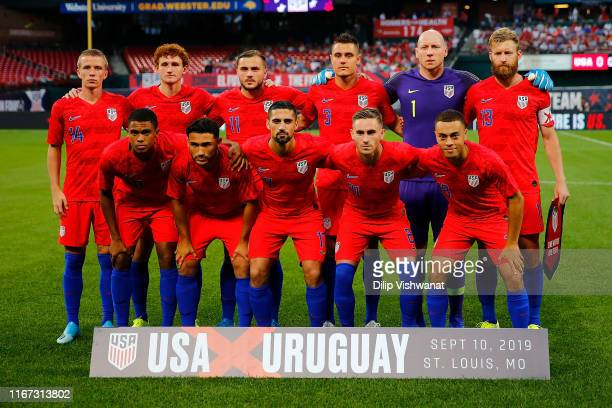 Members of the United States Mens National Team gather for a photo before playing the Uruguay Men's National Team at Busch Stadium on September 10,...