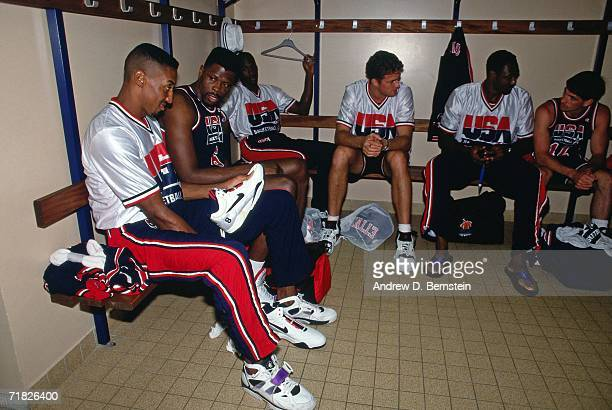 Members of the United States National Team sit at their lockers prior to a game during the1992 Summer Olympics in Barcelona Spain NOTE TO USER User...