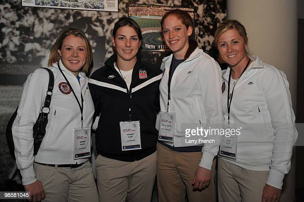 Members of the United States Olympic women's silver medal ice hockey team left to right Karen Thatcher Hillary Knight Molly Schaus and Gigi Marvin...