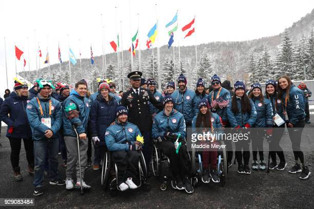 Members of the United States paralytic team during the Welcoming Ceremony at the PyeongChang Olympic Village ahead of the PyeongChang 2018 Paralympic...