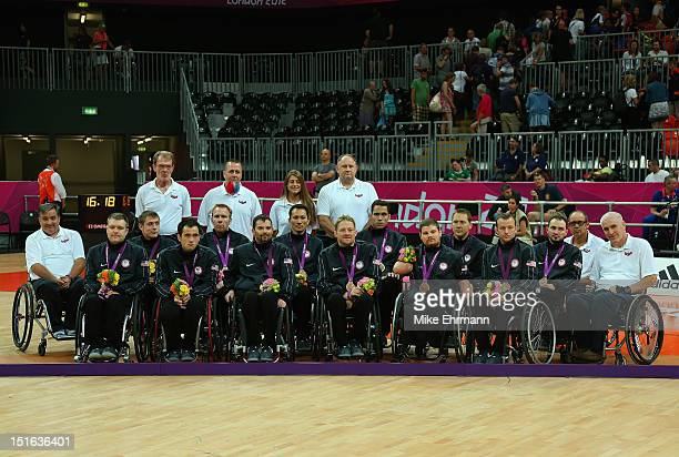 Members of the United States pose with the Bronze Medal during the Medal ceremony of Mixed Wheelchair Rugby against Canada on day 11 of the London...