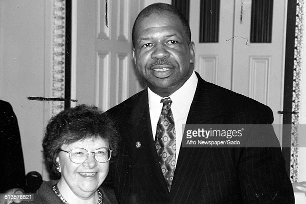 Members of the United States Senate politician and Maryland congressional representative Elijah Cummings and Senator Barbara Mikulski 1988