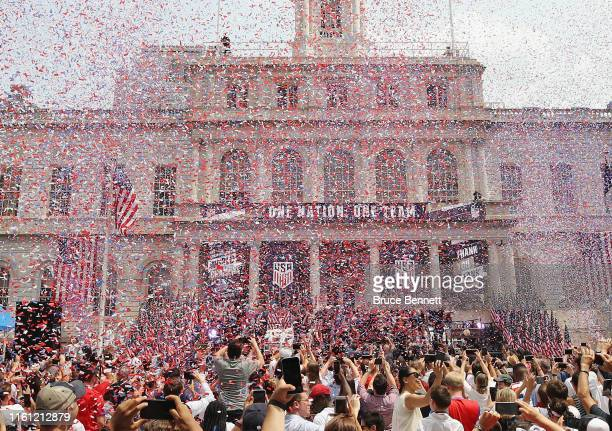 Members of the United States Women's National Soccer Team are honored at a ceremony at City Hall on July 10 2019 in New York City The honor followed...