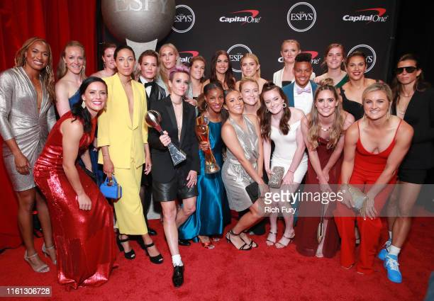 Members of the United States Women's National Soccer Team winners of the Best Team award pose during The 2019 ESPYs at Microsoft Theater on July 10...