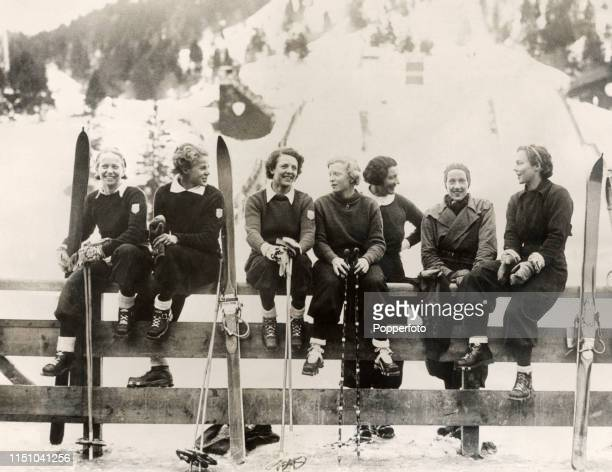 Members of the United States women's ski team during the Winter Olympic Games at Garmisch-Partenkirchen, Germany, circa February 1936. Left to right:...