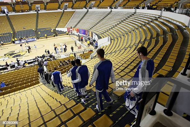 Members of the University of Kentucky basketball team arrive before playing the University of Georgia on March 15 2008 at Alexander Memorial Coliseum...